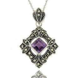 Dolce Giavonna Sterling Silver Marcasite and Amethyst Square Necklace