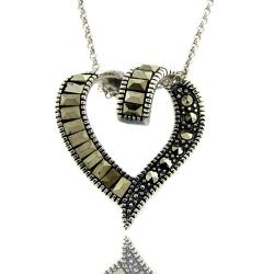 Dolce Giavonna Sterling Silver Marcasite Ribbon Heart Necklace