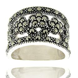 Dolce Giavonna Sterling Silver Marcasite Flower Ring