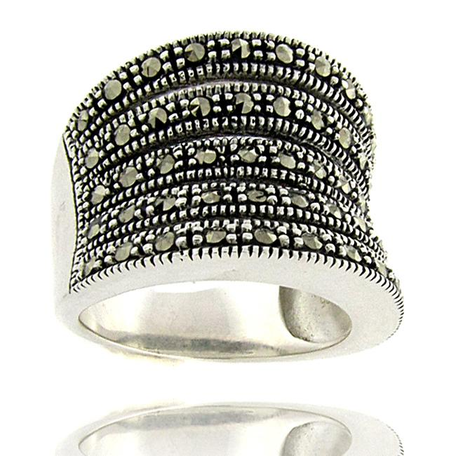 Dolce Giavonna Sterling Silver Marcasite Wide Band Ring