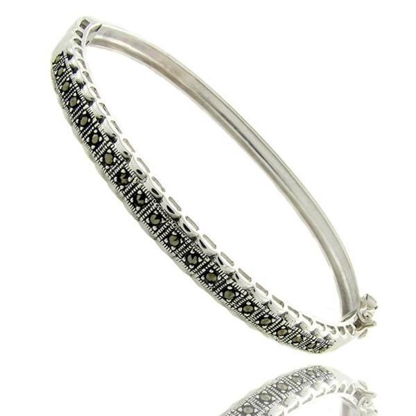 Dolce Giavonna Sterling Silver Marcasite Line Bangle Bracelet