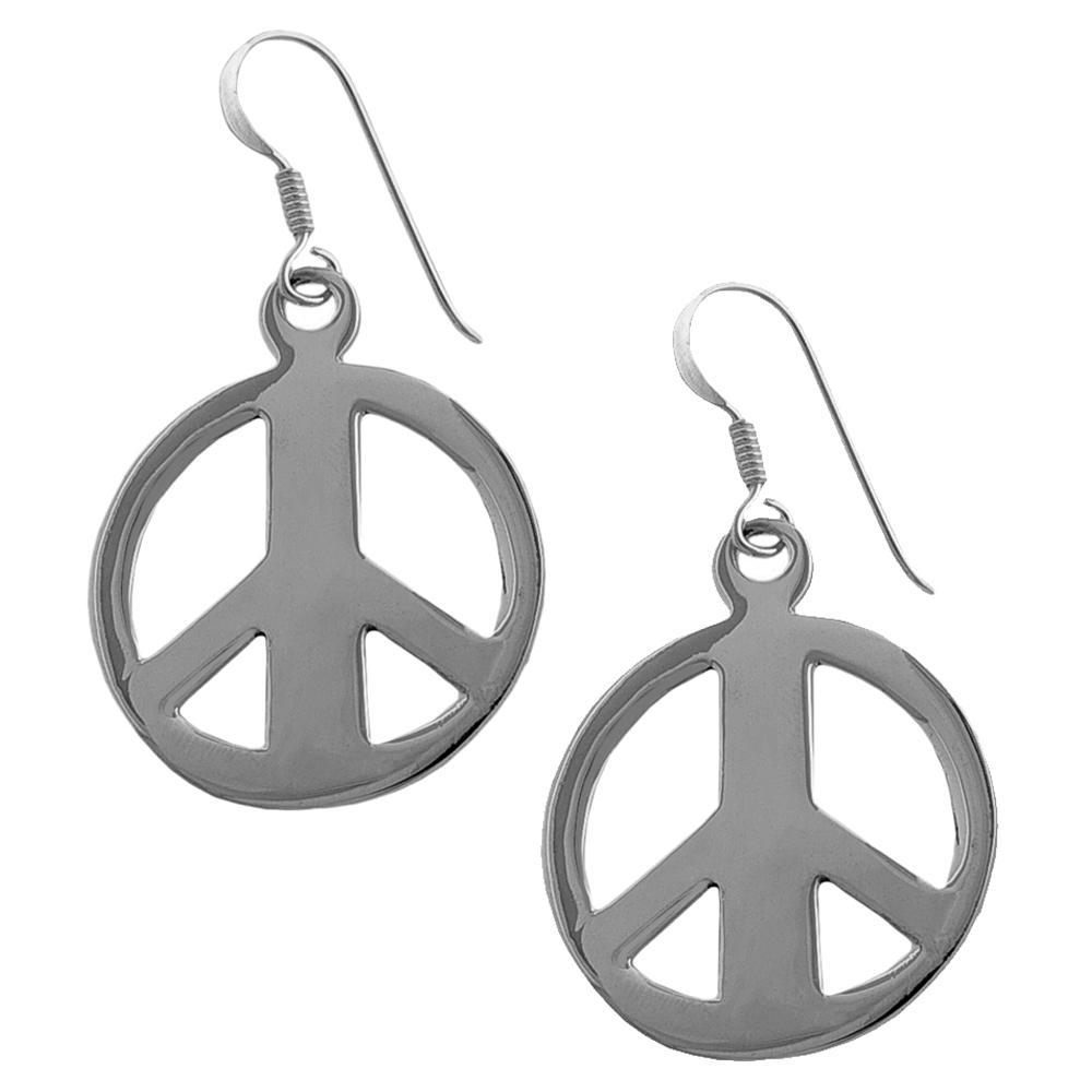 Fremada Sterling Silver Peace Sign Dangle Earrings
