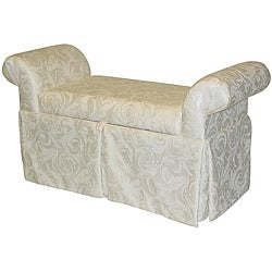 Victoria Rollarm Damask Storage Bench