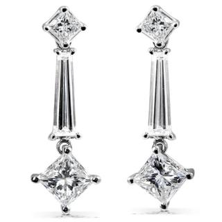Annello 14k White Gold 2 3/4ct TDW Certified Diamond Earrings (F-G, SI2)