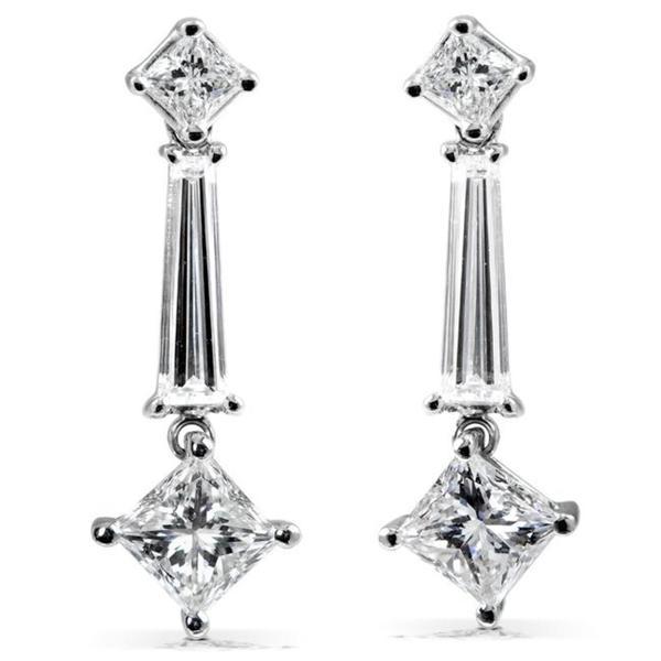 Annello 14k White Gold 2 3/4ct TDW Certified Diamond Earrings (F-G, SI2)