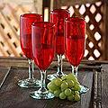 Set of 4 Blown Glass 'Lovely Rubies' 6-oz Champagne Flutes (Mexico)