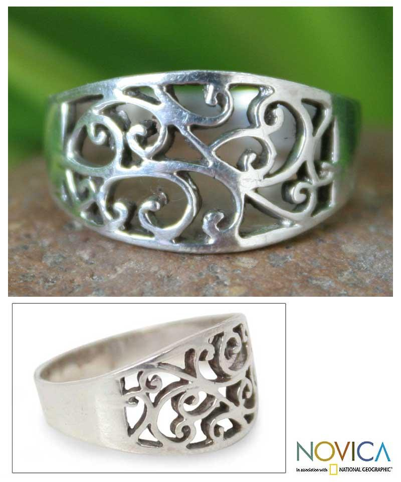 Sterling Silver 'Arabesque' Handcrafted Ring (Thailand)