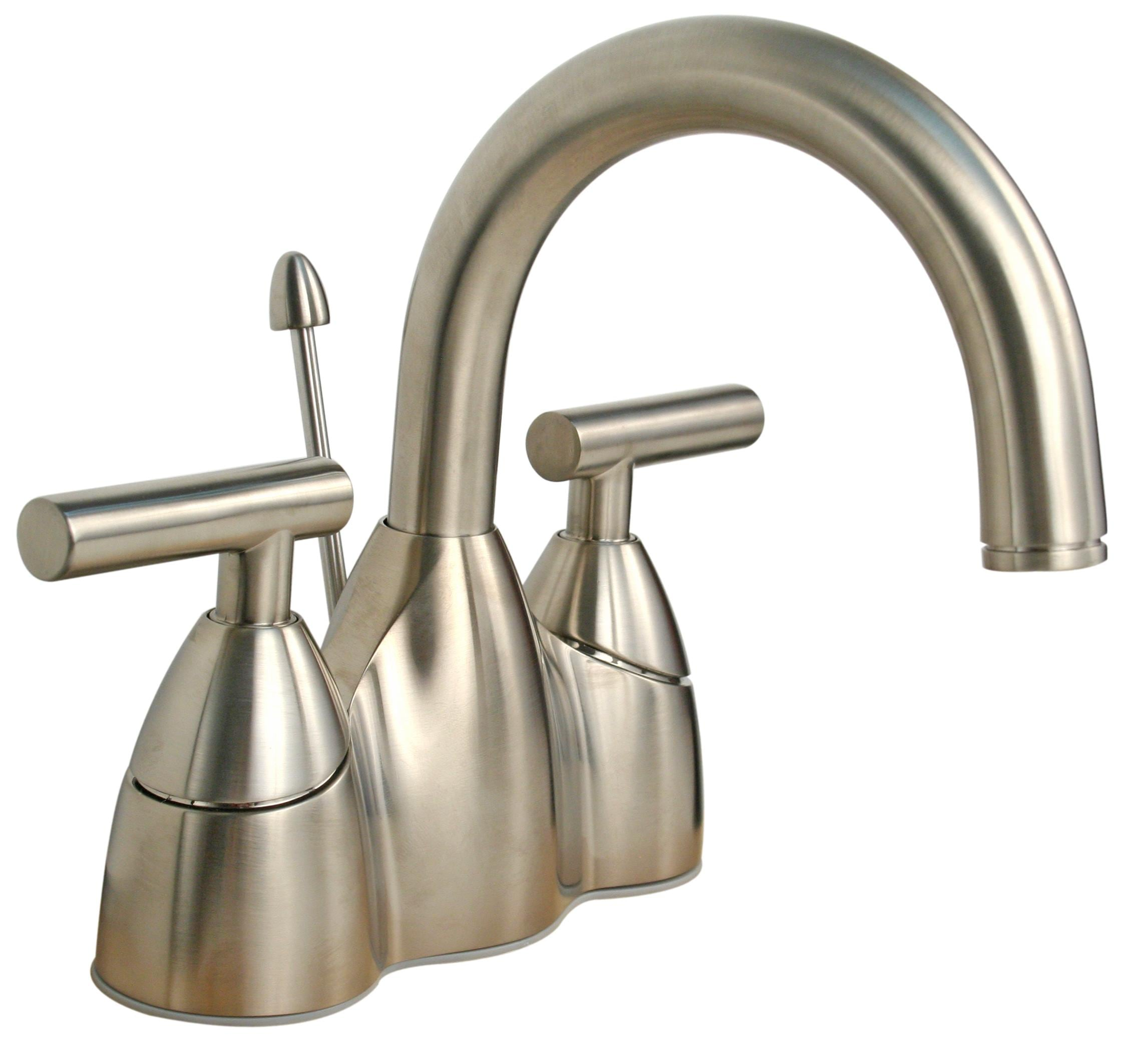 Price pfister contempra brushed nickel centerset bathroom faucet 13289090 for Price pfister bathroom sink faucets