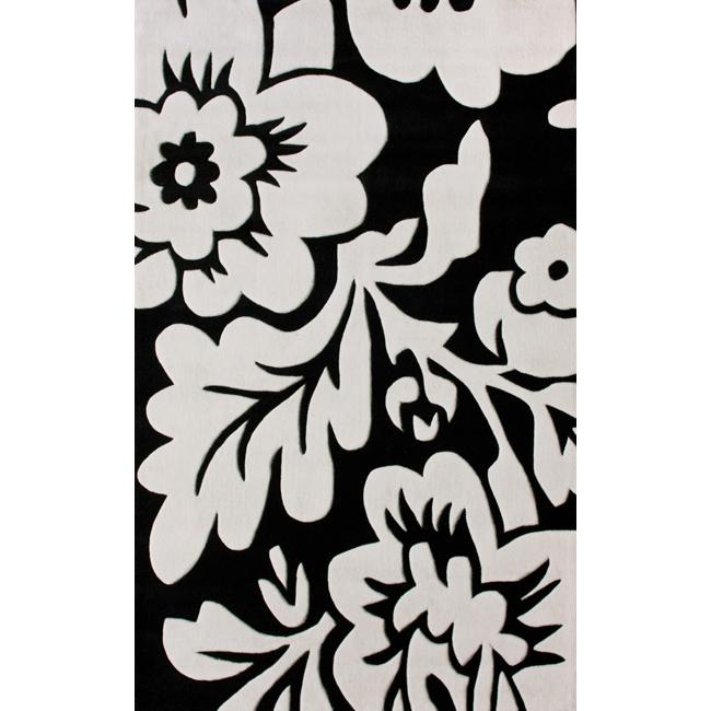 Nuloom Black And White Rug: NuLOOM Handmade Pino Collection Black/ White Floral Rug (5