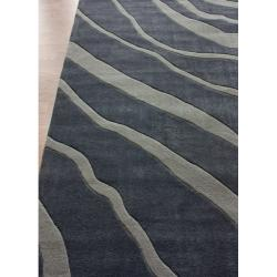 nuLOOM Handmade Pino Collection Charcoal Water Waves Rug (5' x 8')