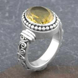 Sterling Silver Citrine 'Cawi' Ornamented Ring (Indonesia)