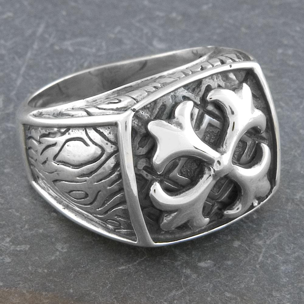 Sterling Silver Men's 'Fleur de Lis' Ring (Indonesia)