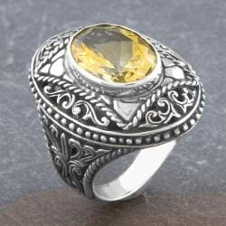 Sterling Silver Citrine 'Cawi' Cross Ring (Indonesia)