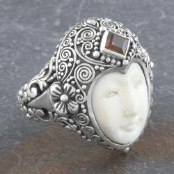 Sterling Silver Garnet 'Moon' Princess Ring (Indonesia)
