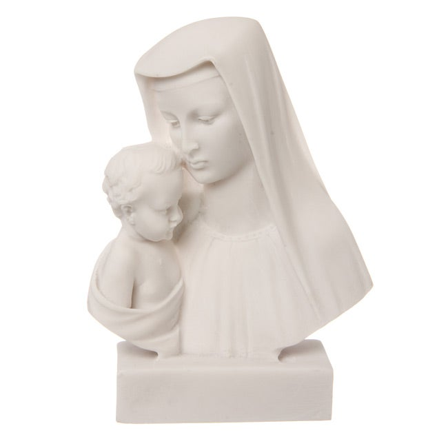 Overstock.com 5.5-inch High White Bonded Marble Virgin Mary with Baby Jesus Statue at Sears.com