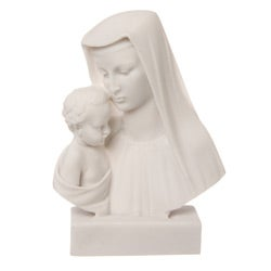 5.5-inch High White Bonded Marble Virgin Mary with Baby Jesus Statue