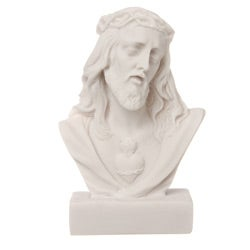 White Bonded Marble Face of Christ Fallen Bust