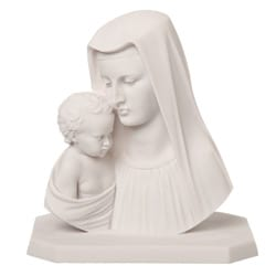 11-inch High White Bonded Marble Virgin Mary with Baby Jesus Statue
