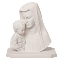 White Bonded Marble Virgin Mary with Baby Jesus Statue