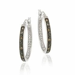 DB Designs Sterling Silver 1/10ct TDW Brown Diamond Hoop Earrings
