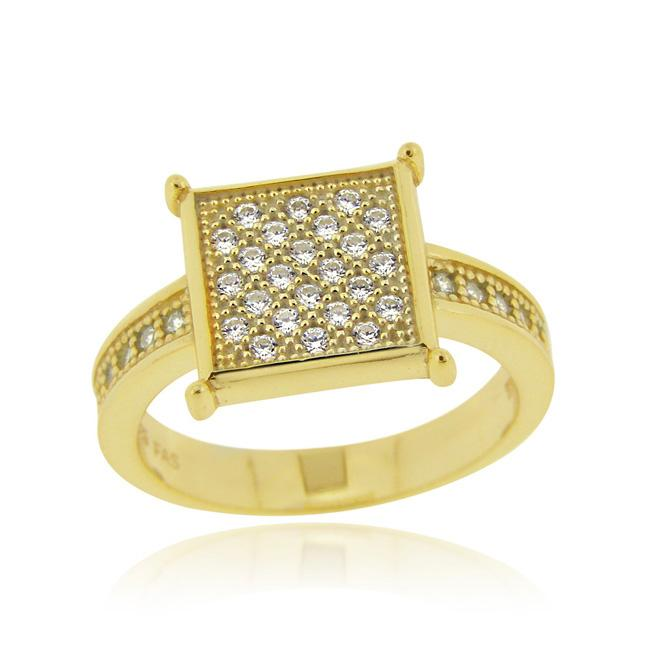 Icz Stonez 18k Gold over Sterling Silver Round Micro Pave Cubic Zirconia Square Ring