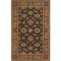 Hand-tufted Coliseum Brown Floral Border Wool Rug (5' X 8')