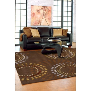 Hand-tufted Brown Contemporary Circles Mayflower Wool Geometric Rug (5' x 8')