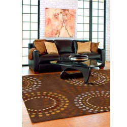 Hand-tufted Brown Contemporary Circles Mayflower Wool Geometric Rug (8' x 11')