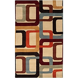 Hand-tufted Contemporary Multi Colored Square Mayflower Wool Geometric Rug (5' x 8')