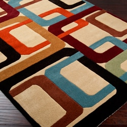 Hand-tufted Contemporary Multi Colored Square Mayflower Wool Geometric Rug (8' x 11')