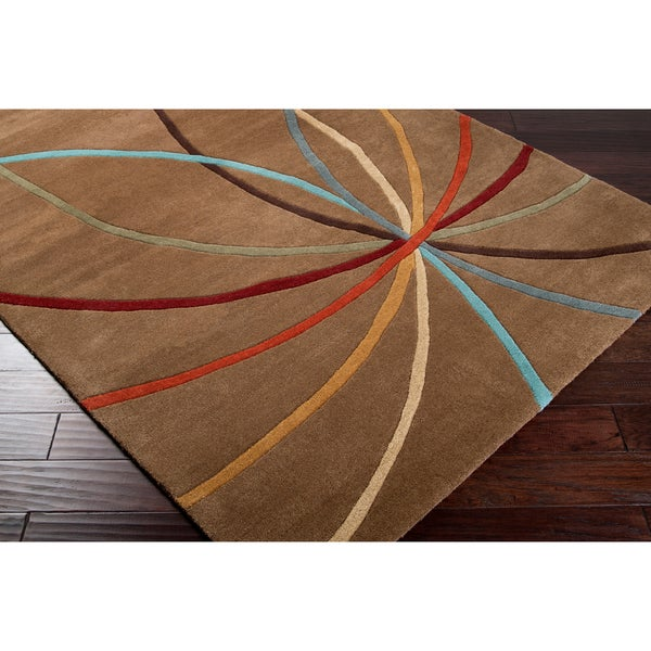 Hand-Tufted Tan Contemporary Mayflower Wool Abstract Area Rug (5' x 8')