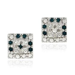 DB Designs Sterling Silver 1/8ct TDW Blue Diamond Square Earrings