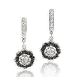 DB Designs Sterling Silver 1/3ct TDW Black Diamond Flower Dangle Earrings