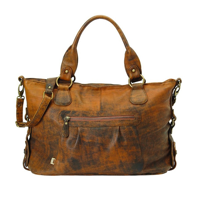 OiOi Jungle Leather Slouch Tote Diaper Bag