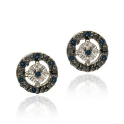 DB Designs Sterling Silver 1/8ct TDW Blue Diamond Earrings