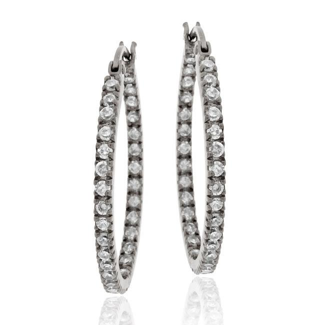 Icz Stonez Black Rhodium over Sterling Silver Cubic Zirconia Oval Hoop Earrings