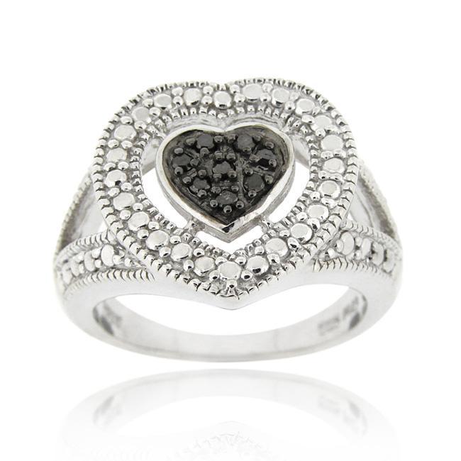 DB Designs Sterling Silver 1/10ct TDW Black Diamond Heart Ring
