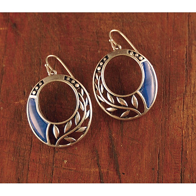 Silvertone Inlay and Vine Earrings (China)