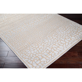 Meticulously Woven Beige Animal Print Abstract Rug (5'2 x 7'6)