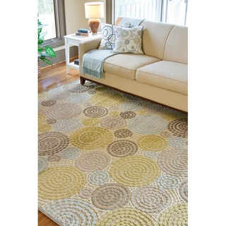 Meticulously Woven Circles Geometric Abstract Rug (5'2 x 7'6)