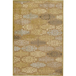 "Transitional Meticulously Woven Multicolored Damask Abstract Rug (7'6"" x 10'6"")"