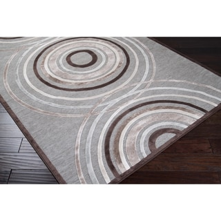 Meticulously Woven Brown/Grey Circles Abstract Rug (7'6 x 10'6)