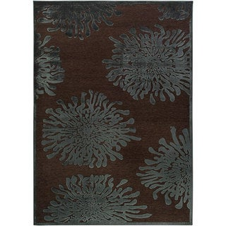 Meticulously Woven Teal/Brown Abstract Rug (7'6 x 10'6)