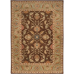 Hand-tufted Coliseum Dark Brown Wool Rug (8' x 11')