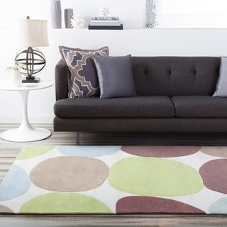 Hand-tufted Contemporary Multi Colored Circles Rocky Road Abstract Rug (8' x 11')