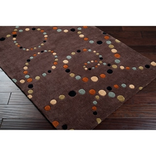 Hand-tufted Contemporary Retro Chic Brown Brown Abstract Rug (8' x 11')