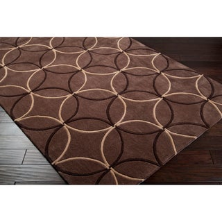 Hand-tufted Contemporary Brown Retro Chic Green Geometric Abstract Rug (5' x 8')