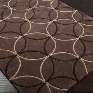 Hand-tufted Contemporary Brown Retro Chic Green Geometric Abstract Rug (8' x 11')