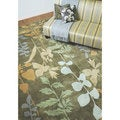 Hand-tufted Green Floral Rug (8' x 11')