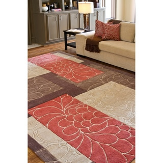 Hand-tufted Brown Floral Squares Rug (5' x 8')